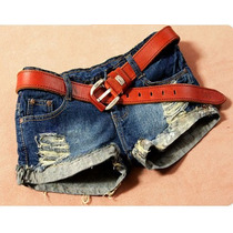 Shorts Jeans Destroyed Desfiado Rasgado | Pronta-entrega
