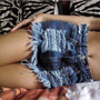 Lindo Shorts Jeans Customizado De Cintura Alta, Detroyed