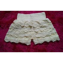 Short Creme Camadas Crochet Renda Guipir Pp