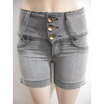 Shorts Bermuda Jeans Cintura Alta Tam 36 Bom Estado