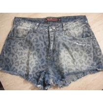Shorts Jeans Curto Oncinha Tam 44 Usado Bom Estado