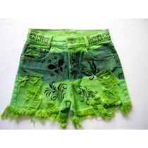 Short Boyfriend Forum Cintura Alta 38 Verde Customizado