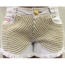 Short Jeans Com Aplicações De Perolas