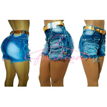 Short Jeans Feminino Cintura Alta Hot Pants Destroyed Anitta