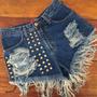 Shorts Jeans Customizado De Cintura Alta