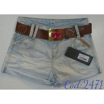 Short Feminino Jeans Oppnus Com Cinto Confort