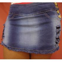 Short Saia Jeans Com Elastano
