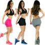 Short Saia Tapa Bumbum Viés Suplex Fitness Academia