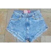 Shorts Jeans Hot Pants Cintura Alta Com Pérolas E Elastano