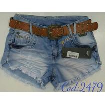 Short Feminino Jeans Oppnus Com Cinto Lycra Confort