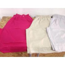 Short Feminino Sarja Colorido Comprido Tamanhos Grandes Plus