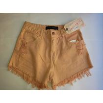 Short Feminino Lady Rock Cintura Alta Jeans Colorido Biquini