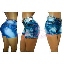 Short Jeans Feminino Cintura Alta Botão Destroyed Anitta 443