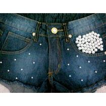 Shorts Feminino Customizado Destroyed Perólas E Correntes