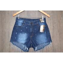 Short Jeans Cós Alto Cintura Alta Com Elástico Hot Pants