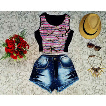 Conjunto Short Jeans Cos Alto + Blusa Cropped Top Hot Pants