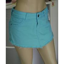 Short Saia Colorido Azul Com Elastano - Promoção