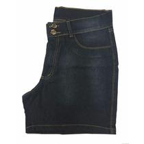 Short Feminino Jeans Com Elastano Bolsos Bordados Plus Size