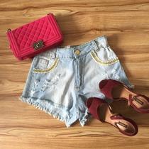 Shorts Hot Pants Cintura Alta Azul Claro Perolas Strass Moda