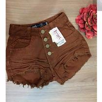 Shorts Hot Pants Disco Pant Cintura Alta Com Botão Marrom