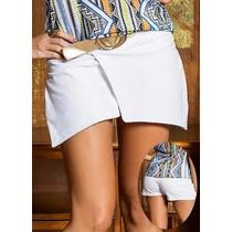 Shorts Feminino Branco Assimétrico Coton Pronta Entrega Top