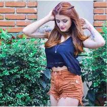 Shorts Feminino Hot Pants Cintura Cós Alta Jeans Marrom Moda