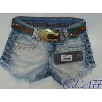 Short Jeans Oppnus Com Cinto Feminino Lycra Confort 2016