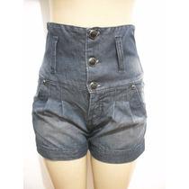 Shorts Bermuda Jeans Cintura Alta Tam 38 Ótimo Estado