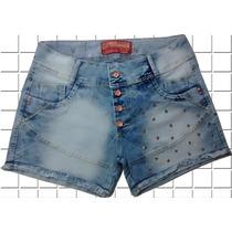 Short Jeans Plus Size C/ Botão E C/ Lycra Cintura Alta