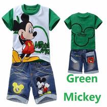 Conjunto Infantil Menino Camiseta + Bermuda Jeans Mickey