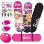 Skate Com Acessórios De Segurança Rodas Glitter Barbie