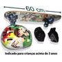 Skate Semi Profissional Infantil Capacete Joelheira Bolsa