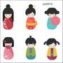 Adesivo Decorativo Parede Bonecas Japonesas Japão Job0919