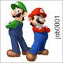 Adesivo Decorativo Irmãos Mário E Luigi Menino Game Job0001