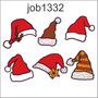 Adesivo Parede Decorativo Gorros Papai Noel Variados Job1332