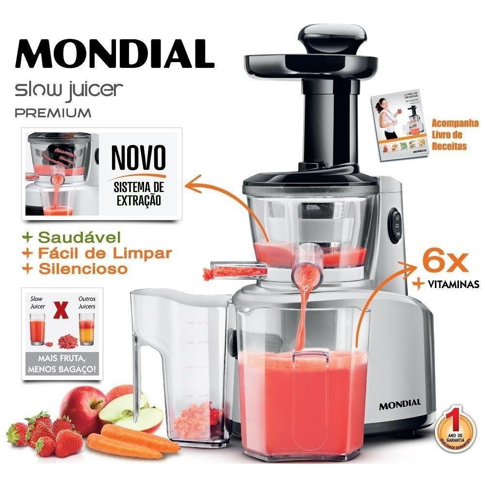 Slow Juicer Premium 250w Com Duas Jarras Sj-01 Mondial - R$ 248,88 no MercadoLivre