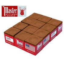 Giz Master Marrom 12 Pç Para Taco De Bilhar Sinuca (10916)