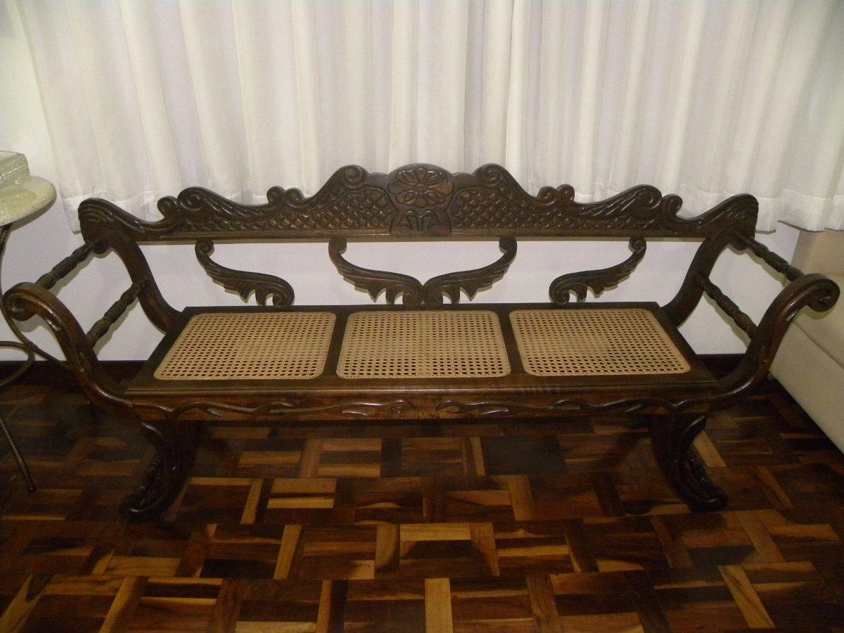 Sofá Banco Namoradeira Antiga Entalhada Em Madeira Nobre. R$ 1.499  #623F19 1200x900