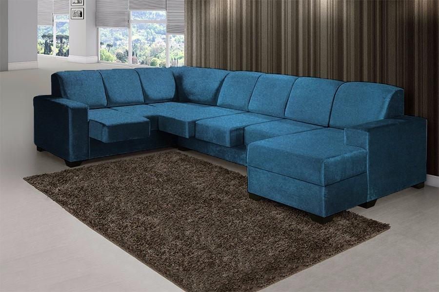 Sofá De Canto Azul Retrátil - Shopping Hm - R$ 2.599,90 em ...