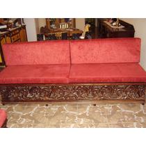 Sofa 4 E 2 Lugares Madeira Entalhada A Mao E Muito Antigo