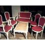 Conjunto Luiz Xv Mesa Cadeira Poltrona Antigo Madeira