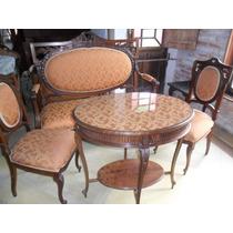 Antigo Jogo De Sofá Namoradeira, 2 Cadeiras E Mesa De Chá