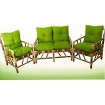 Sofá De Bambu 2 Lugares E 2 Poltronas