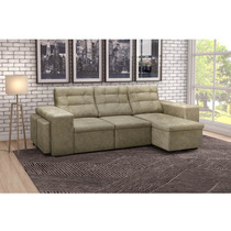 Sofá Retrátil E Reclinável 3 Lugares Com Puff E Chaise