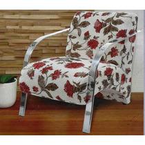 Cadeira Decorativa Braço Em Madeira Ou Alumínio