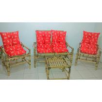 Conjunto Completo Vime/bambu/cana Da Índia Sofá E Poltronas