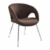 Poltrona Cadeira Fixa Marrom Estofada Recepção Sala