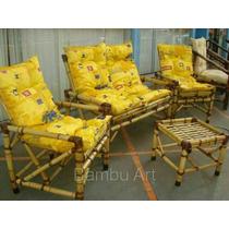 Conjunto Vime/bambu/madeira Sofá/poltronas/cadeiras Jogo