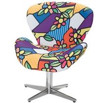 Poltrona / Cadeira Decorativa Romero Britto Base Cromada