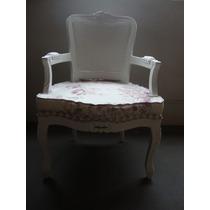 Cadeira Poltrona Amamentação, Decoração Luiz Xv Com Almofada